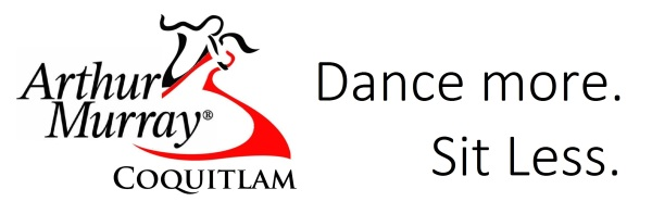 Arthur Murray Logo dancers red accent - coquitlam - trajan pro font Dance more Sit less