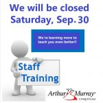 Staff Training this weekend – September 30th